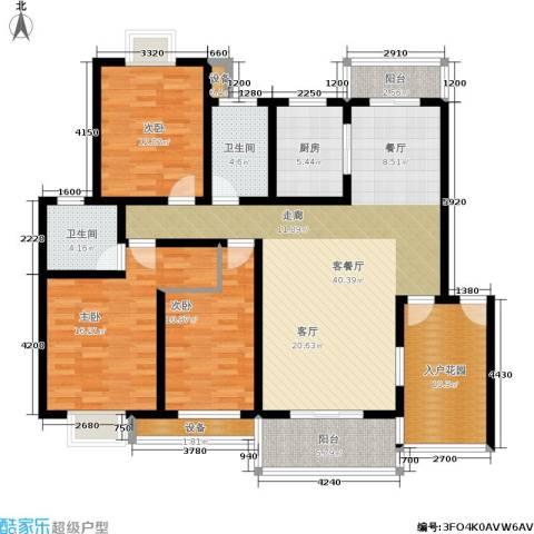 天元吉第城3室1厅2卫1厨114.56㎡户型图