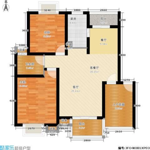 天元吉第城2室1厅1卫1厨84.00㎡户型图