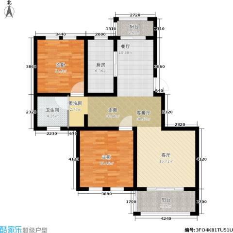 欧风丽苑2室1厅1卫1厨96.00㎡户型图