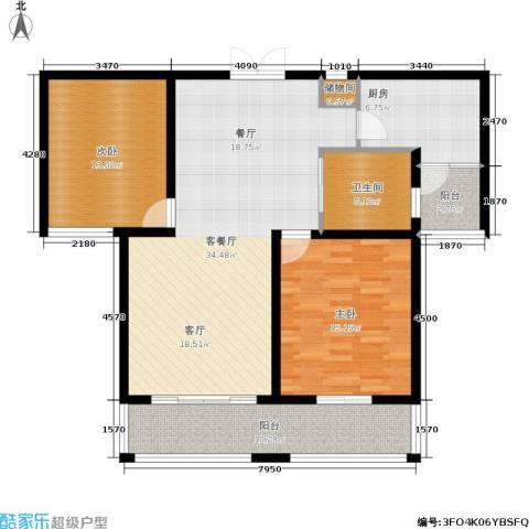 欧风丽苑2室1厅1卫1厨100.00㎡户型图