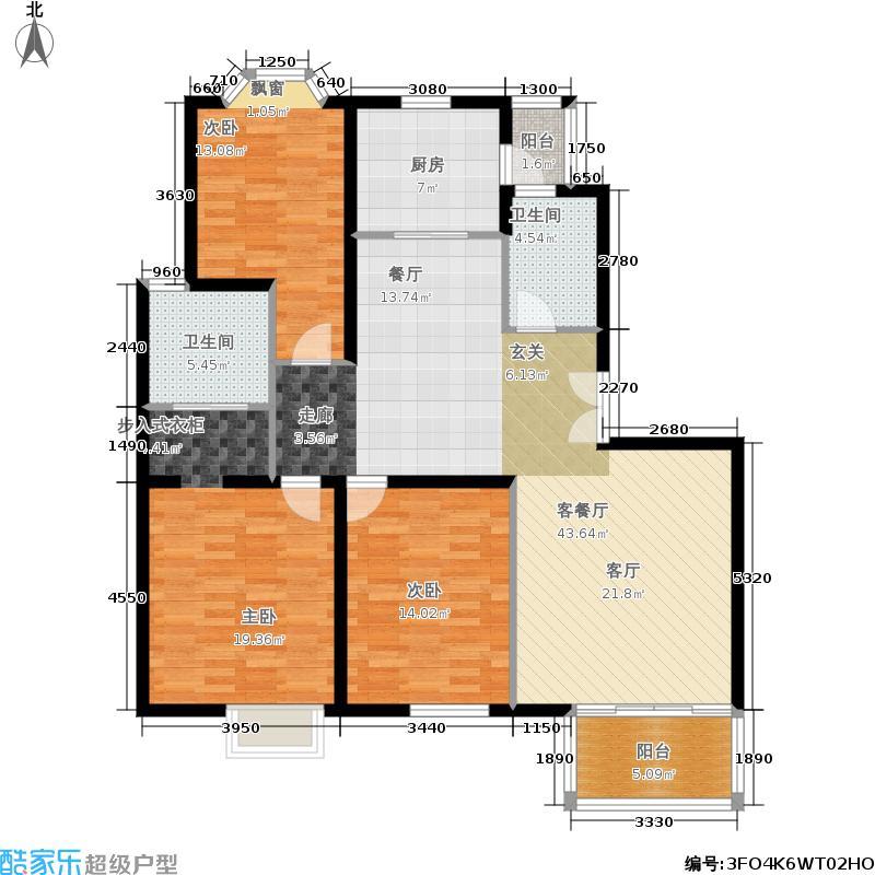 西郊龙柏103.00㎡房型: 三房; 面积段: 103 -130 平方米;户型