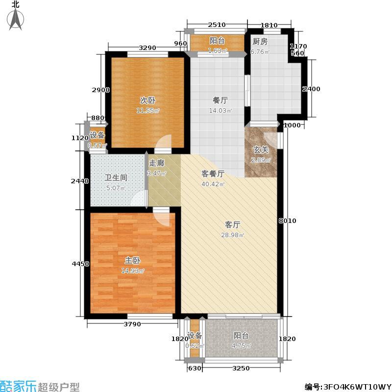 西郊龙柏89.00㎡房型: 二房; 面积段: 89 -107 平方米; 户型