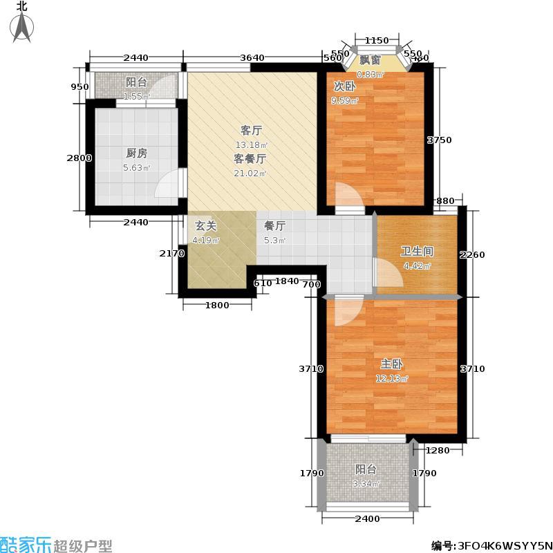 西郊龙柏89.00㎡房型: 二房; 面积段: 89 -107 平方米;户型