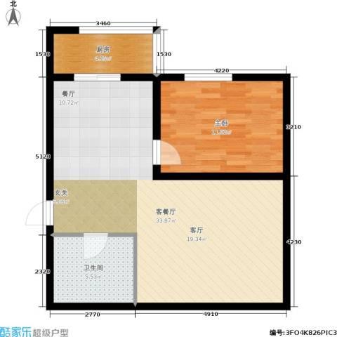 明城花园1室1厅1卫1厨62.00㎡户型图