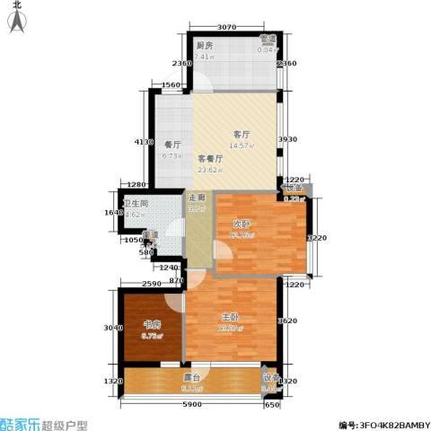 万科城3室1厅1卫1厨107.00㎡户型图