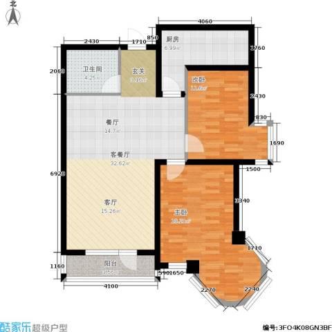 明城花园2室1厅1卫1厨80.00㎡户型图