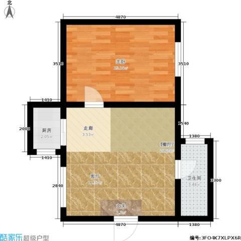 风车小镇1室1厅1卫1厨48.00㎡户型图