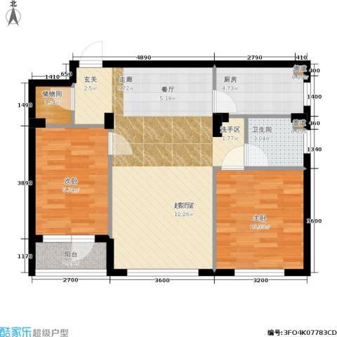 保利花园第六区2室0厅1卫1厨77.00㎡户型图