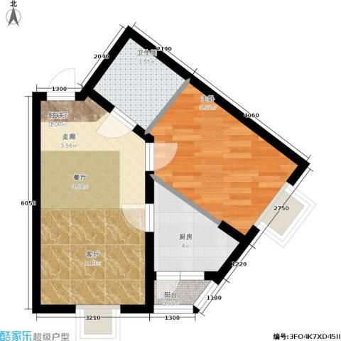 枫桥国际1室1厅1卫1厨34.88㎡户型图