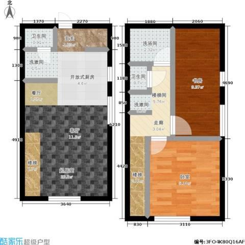 锦华银座1室0厅2卫0厨57.80㎡户型图