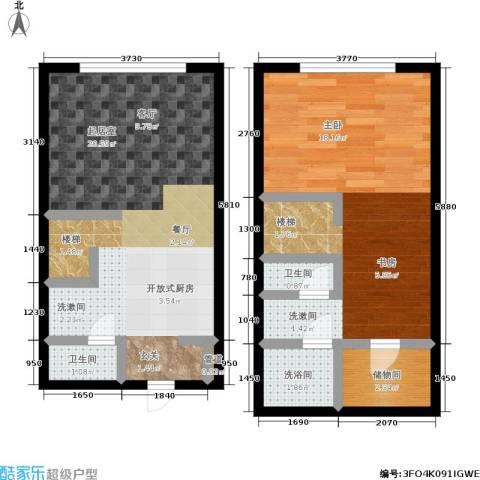 锦华银座1室0厅2卫0厨52.80㎡户型图