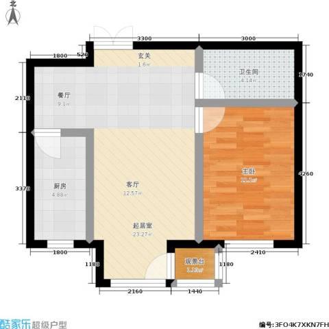 明华西江俪园1室0厅1卫1厨60.00㎡户型图