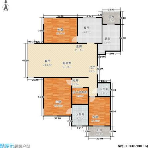 东升江畔3室0厅2卫1厨140.49㎡户型图