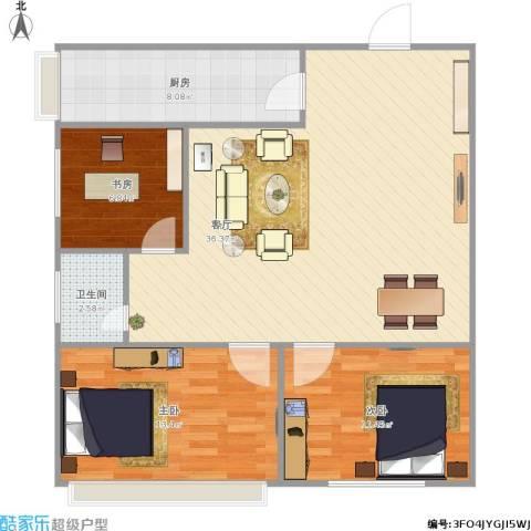 漪汾小区3室1厅1卫1厨105.00㎡户型图