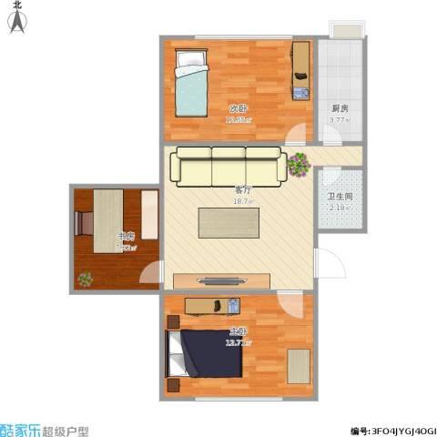 漪汾小区3室1厅1卫1厨77.00㎡户型图