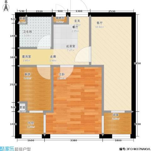 中房上东花墅二期1室1厅1卫1厨48.00㎡户型图