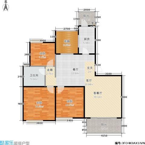 朗悦湾3室1厅1卫1厨100.91㎡户型图