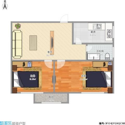漪汾小区2室1厅1卫1厨61.00㎡户型图