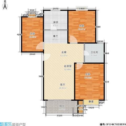 圣源新居3室0厅1卫1厨114.00㎡户型图