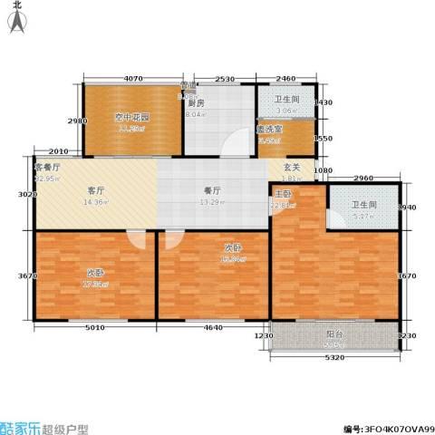华夏名都3室1厅2卫1厨164.00㎡户型图
