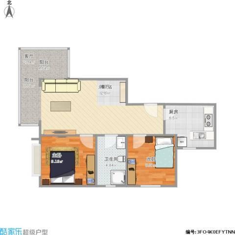 秦皇岛恒大城2室1厅1卫1厨76.00㎡户型图