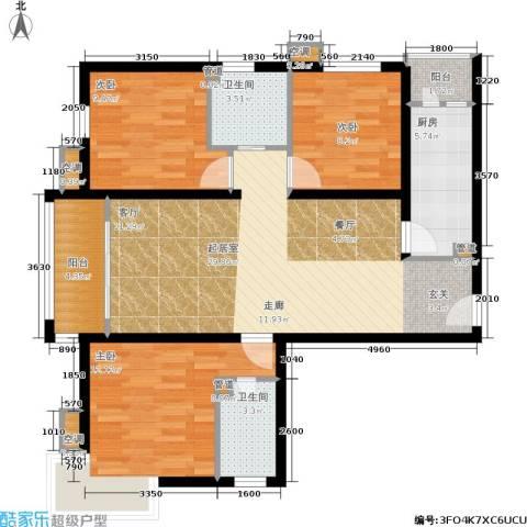 第一城A组团3室0厅2卫1厨110.00㎡户型图