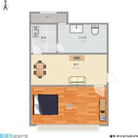 漪汾小区1室1厅1卫1厨56.00㎡户型图