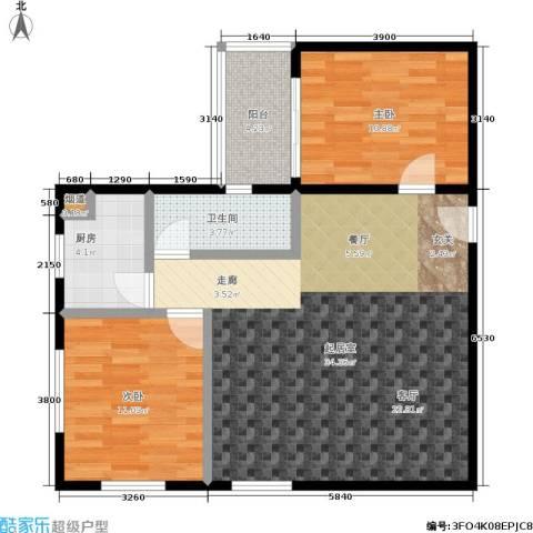 翠城花园2室0厅1卫1厨77.00㎡户型图