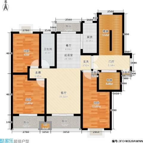领秀江南花苑3室0厅1卫1厨110.00㎡户型图