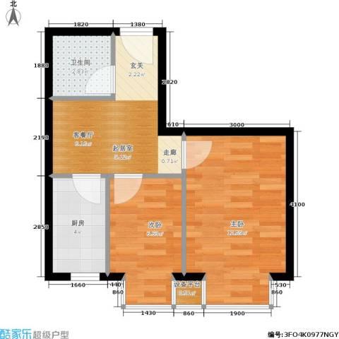 世代龙城2室0厅1卫1厨48.00㎡户型图