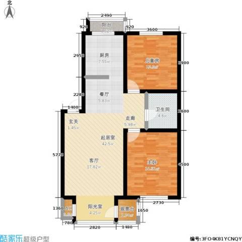 明华西江俪园2室0厅1卫0厨80.00㎡户型图