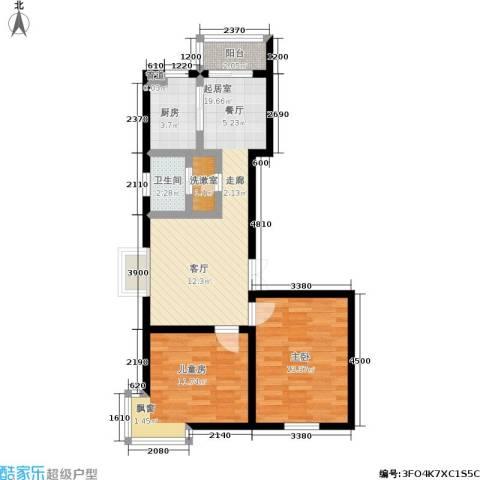 明华西江俪园2室0厅1卫1厨80.00㎡户型图