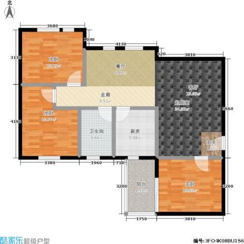 翠城花园3室0厅1卫1厨92.00㎡户型图