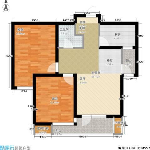 紫晶・天域2室0厅1卫1厨78.57㎡户型图