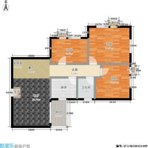 翠城花园3室0厅1卫1厨87.00㎡户型图