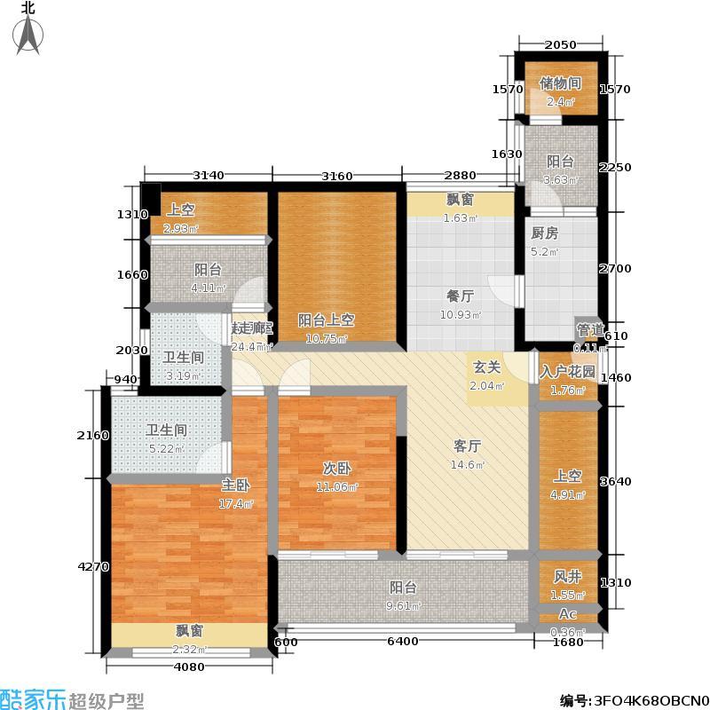 百合盛世126.55㎡4号楼2-B型2房2厅2卫126.55平米户型2室2厅2卫
