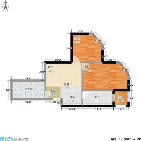 开建阳光馨苑2室1厅1卫1厨76.00㎡户型图