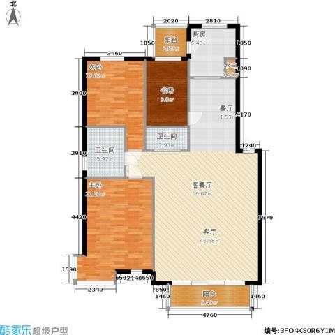 北港新城3室1厅2卫1厨124.49㎡户型图