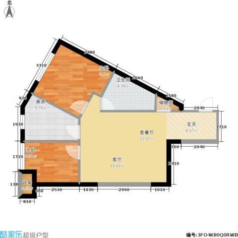 开建阳光馨苑2室1厅1卫1厨72.00㎡户型图