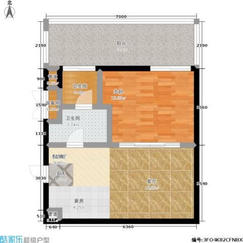 大舜天成自由城1室1厅2卫0厨55.62㎡户型图
