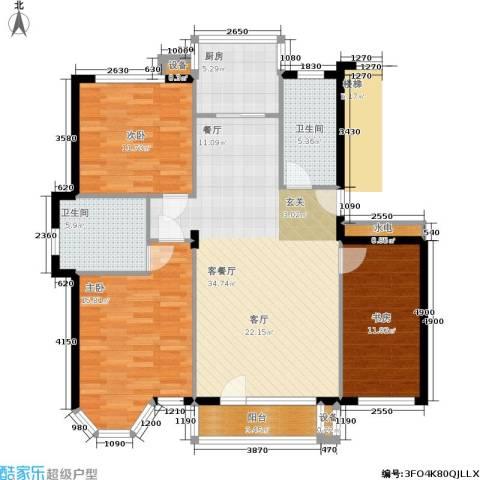 柏林水郡二期3室1厅2卫1厨94.65㎡户型图