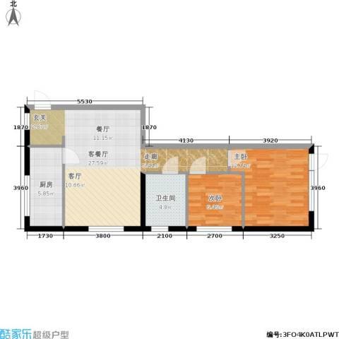 开建阳光馨苑2室1厅1卫1厨80.00㎡户型图