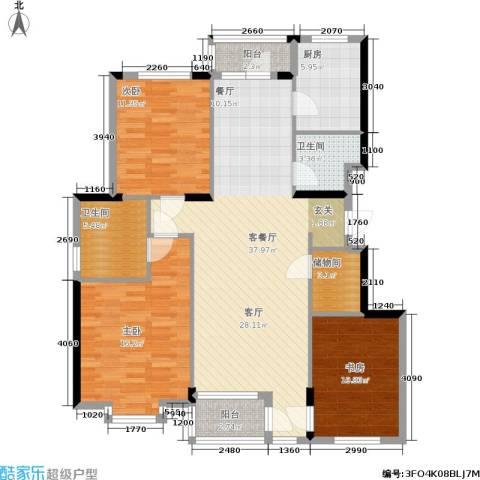 熙园3室1厅2卫1厨140.00㎡户型图