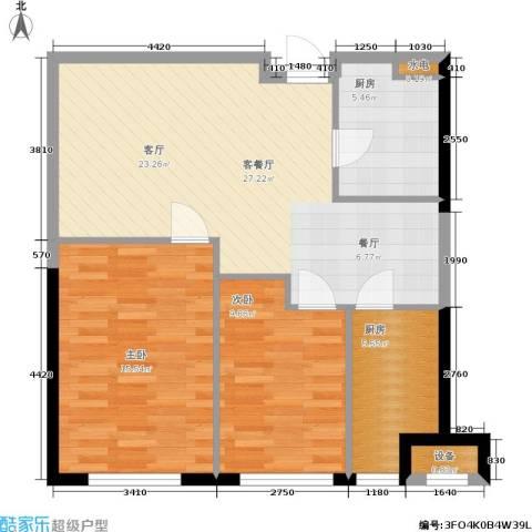 开建阳光馨苑2室1厅0卫2厨90.00㎡户型图