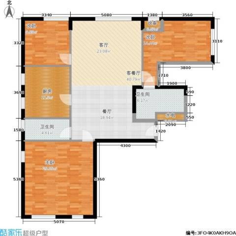 开建阳光馨苑3室1厅2卫1厨157.00㎡户型图
