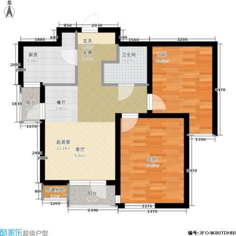 紫晶・天域2室0厅1卫1厨67.98㎡户型图