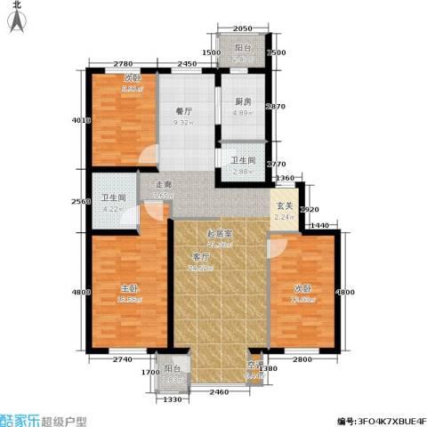 大学新城3室0厅2卫1厨120.00㎡户型图