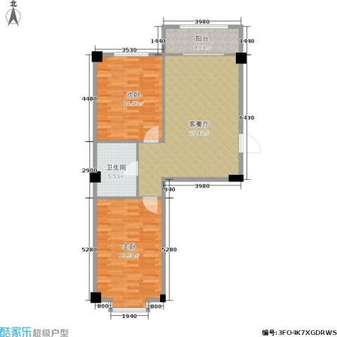 朗悦华园二期2室1厅1卫0厨77.00㎡户型图