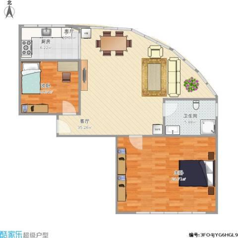 艾菲尔花园2室1厅1卫1厨109.00㎡户型图