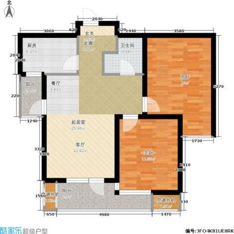 紫晶・天域2室0厅1卫1厨80.32㎡户型图